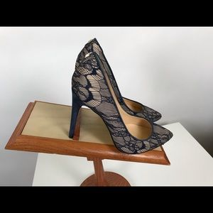 IVANKA TRUMP Blue Suede Heel With  Lace SIZE 7